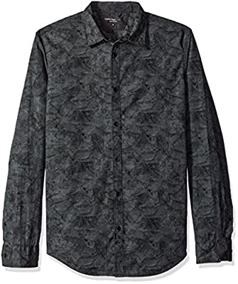 Calvin Klein Jeans Men's Tonal Botanical Camo Print Long Sleeve Button Down Shirt