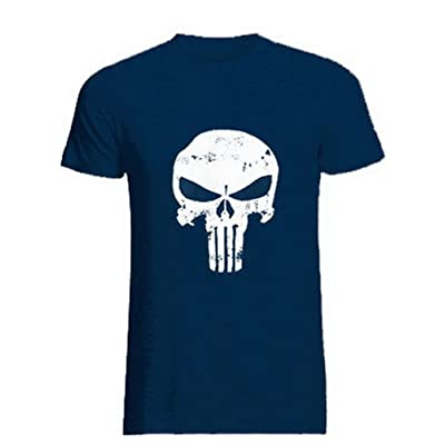 ROBO Mens Skull Print Short Sleeve Round Neck Tops Gym T-Shirt