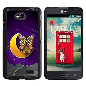 TopCaseStore / la caja del caucho duro de la cubierta de protección de la piel - Awesome Owl On The Moon - LG Optimus L70 / LS620 / D325 / MS323