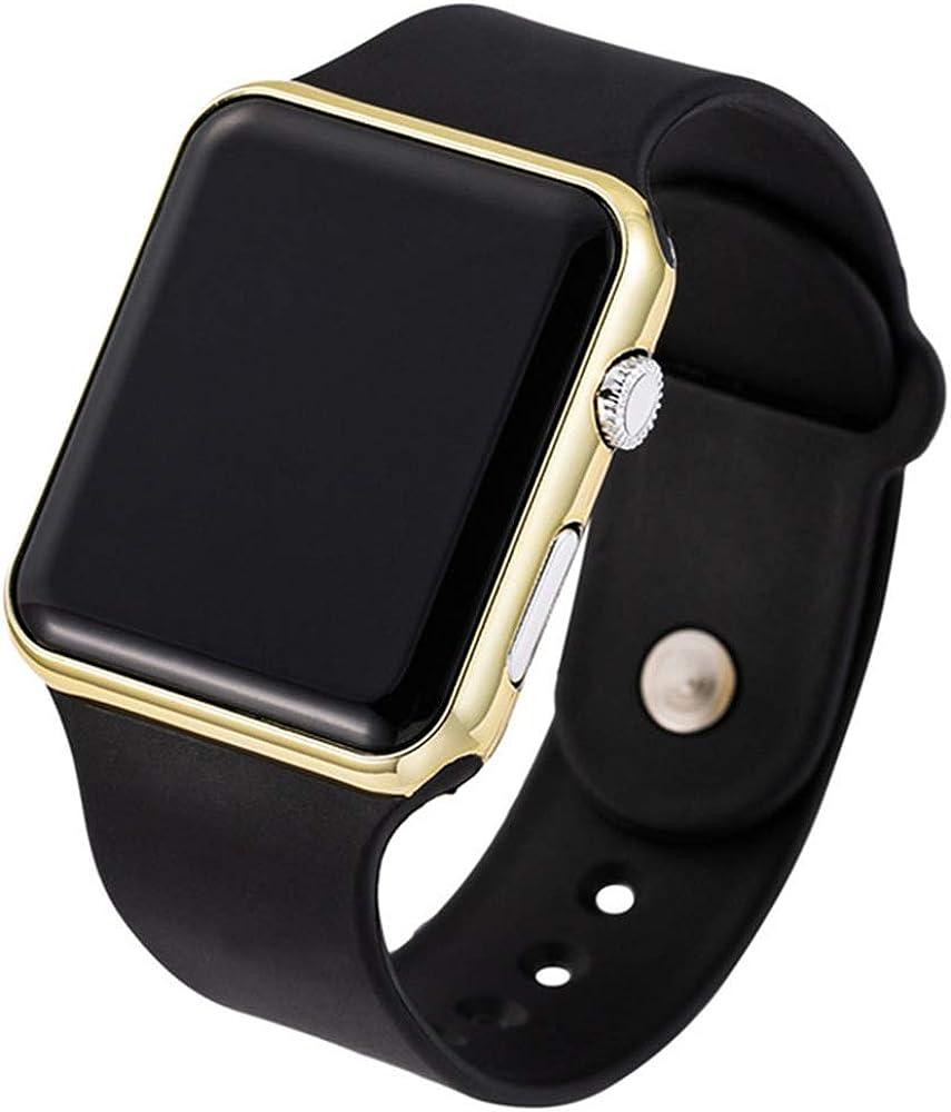 RRWL Reloj LED Deportivo y de Ocio para Mujer Reloj Digital Unisex Reloj de Pulsera de Silicona para Parejas Regalosnavideños Oro Negro