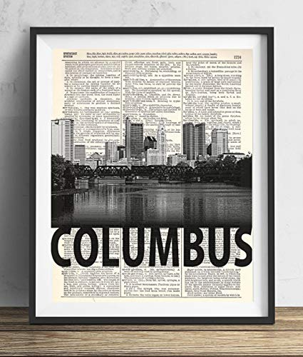 Bold Art - Columbus Skyline With Bold Name Dictionary Art Print 8x10