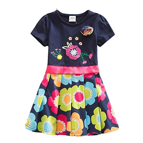 VIKITA Girls Cotton Short Sleeve Flower Dress SH5868 Borland 7-8 Years