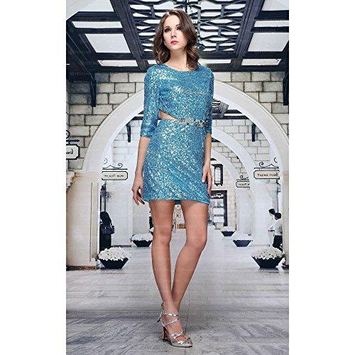bei Pailletten Türkis 44 Gr Damen Mini Für Cocktail Festamo Ital In Design Kleid S1vHwqvC