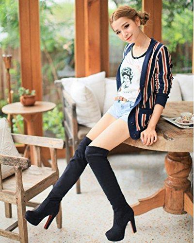 Botas Tacón Rodilla Moda Mujer Negro Alto Zapatos Suede La De Invierno Puntera Minetom Botas Redonda xq01T8gT