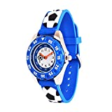 Wolfteeth Watch for Boys Kids Watches Blue Analog Watch with Bezel Glass Dial Football 308202