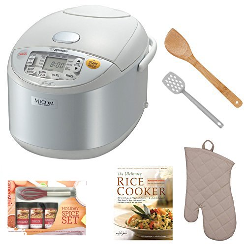 Zojirushi NS-YAC18 Umami Micom 10-Cup (Uncooked) Rice Cooker and Warmer (Pearl White) Bundle