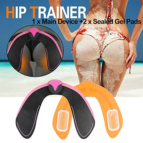 EMS Hips Trainer and Butt Toner, Electrical Body Beauty Massager for Women Buttocks Lifting Shape and Firm(with Additional one Free Gel Pad) -(Black and Pink)