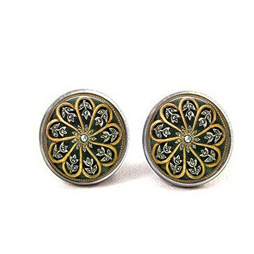 - stap Elegant Art Nouveau Style Black and Gold Cufflinks - Diamond Image Jewelry