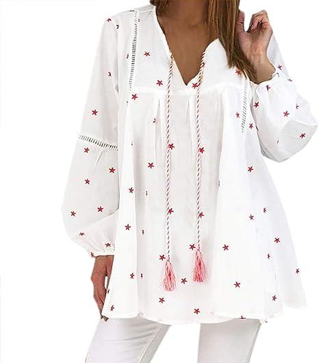 ღLILICATღ Mujer Camiseta de Mangas Largas Sexy V Cuello Camisas Estampado De Estrellas Manga Larga con Borlas Camiseta Blusa Suelto Tops: Amazon.es: Deportes y aire libre