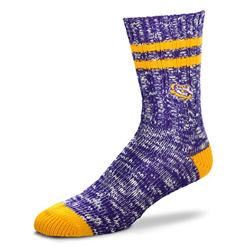 For Bare Feet NCAA Alpine Crew Socks-Large-LSU Tigers