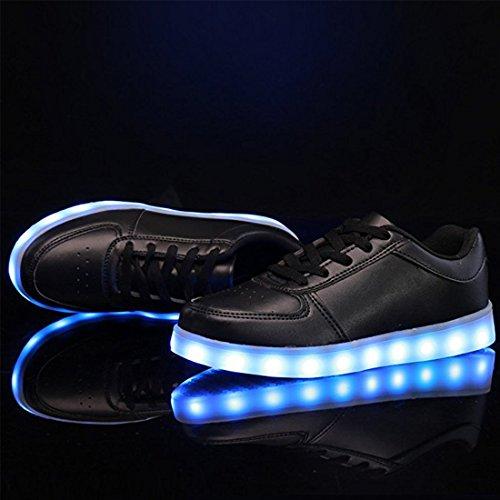 Marche YUHUAWYH LED De Couleur Noir Femmes Casual 7 Et LED Chaussures Chaussures Hommes Charging Chaussures 1wqXr1O