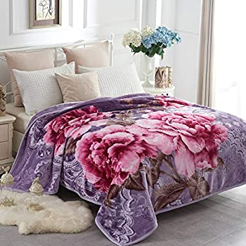Amazon Com Solaron King Flower Beige Korean Mink Blanket