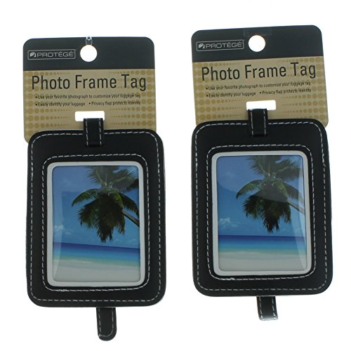 Set of 2 Protege Photo Frame Luggage Tags Suitcase ID - Picture Tag Frame Luggage