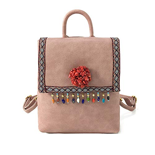 Bag You Pendant Fan Tassel functional Backpack Retro Fashion Shoulder Multi Woman College Fan Pink a8pwxR7Hqx
