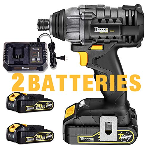 Impact Driver, TECCPO, 2X2.0Ah Batteries, 30 Minutes Fast Charger 4A, 1600In-lbs 20V MAX Impact Drill, 1 4 All-metal Hex Chuck, 0-2900RPM Variable Speed, Tool Bag Included – TDID01P