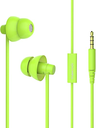 MAXROCK MINi5 Comfort-fit Headphones with Mic Wired Cellphone Earbuds with 3.5mm Jack Green