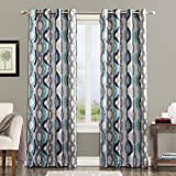 Best Sun Zero Home Black Out Curtains - Sun Zero Burbank Geometric Ogee Watercolor Print Energy Review