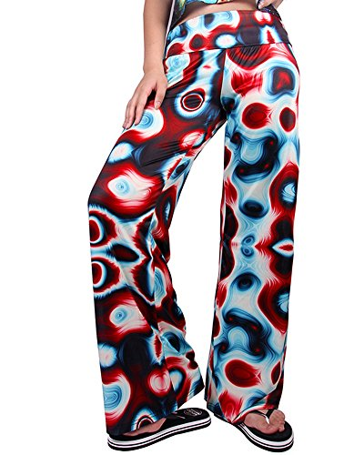 Vintage Mujer Pantalones Impresión De Deporte Pantalones Sueltos Estampado Llamarada Ancho Pierna Palazzo Como en la Foto