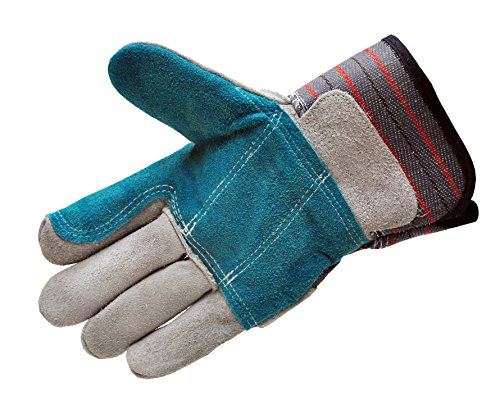 G & F 5215L-5 Premium Suede Double Palm & INDEX Finger Work Gloves with 2 & 1/2 Rubberized SAFETY Cuff, 5 Pair Pack