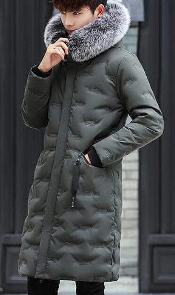 XiaoTianXinMen XTX Mens Faux Fur Hoodie Mid Length Winter Down Quilted Puffer Jacket Coat Outerwear