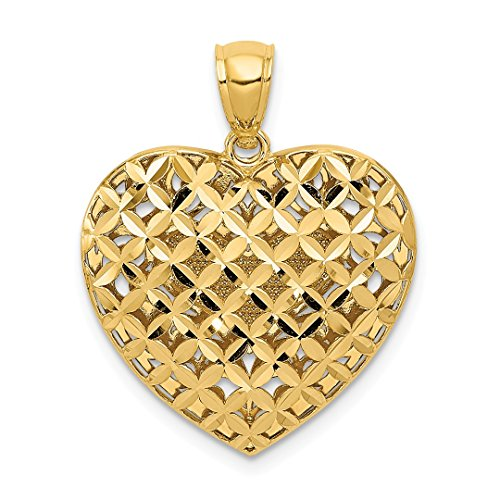 14k Weave Necklace - 14k Two Tone Yellow Gold Filigree Basket Weave Reversible Heart Pendant Charm Necklace Love Fine Jewelry For Women Gift Set