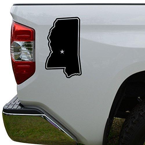 WenNuNa Mississippi State Map Capital Die Cut Vinyl Decal Laptop Car Truck Bumper Window Sticker