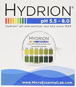 Ph. Test Tape Dispenser Hydrion Papers Strips Made for Saliva Or Urine Testing-Range Is in 2 Intervals & From 5.5 To 8.0, Check Body for Alkaline or Acid Environment, Approx. 100 Tests