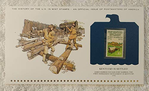Kentucky Is Settled - James Harrod Founds Fort Harrod, the First Permanent Settlement in Kentucky - Postage Stamp (1974) & Art Panel - History of the United States: an official issue of Postmasters of America - Limited Edition, 1979 - Harrodsburg
