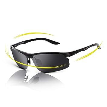 FAWOVA Gafas de Sol Hombre Polarizadas,Gafas Running Hombre con Aluminio Ultraligero, Gafas Deportivas