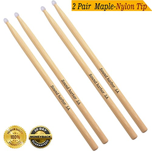 Drum Sticks 5A Drumsticks Nylon Tip Drum Stick (2 Pair Nylon Tip Maple 5A) ()
