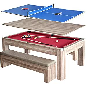 pool table and dining room table | Amazon.com: Hathaway Newport 7 ft. Pool Table Combo Set ...