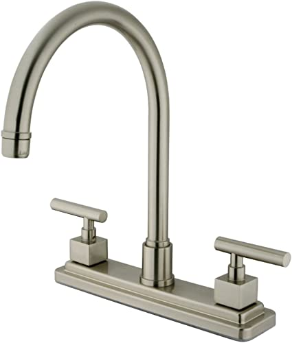 Kingston Brass KS8798CQLLS Claremont 8-Inch Kitchen Faucet Without Sprayer, Brushed Nickel