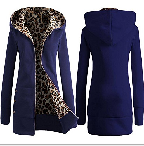 Long COMVIP Women Sleeve Sweatshirt Blue Hoodies Fleece Open Royal Front Warm aXZwqnTX