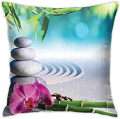 Mackinto SPA Sand Orquídea y Piedras de Masaje en el jardín Zen Meditación de día Soleado Yoga Helecho Azul Funda de Almohada Cuadrada Fucsia Verde Paquete de 2: Amazon.es: Hogar