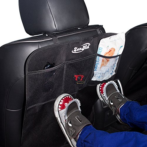 SALE! Kick Mats Back Seat Protectors (2 Pack) - Car Seat Back Covers with Waterproof Fabric For Protection Against Dirt, Mud & Stains - Mesh Organizer Pockets Included (Club Sale Chair Red Leather)