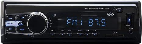 AUX USB Radio MP3 Player Car PNI Clementine Bus Truck 8524BT 4x45w 12V // 24V 1 DIN cu SD RCA SI Bluetooth 24 Volt