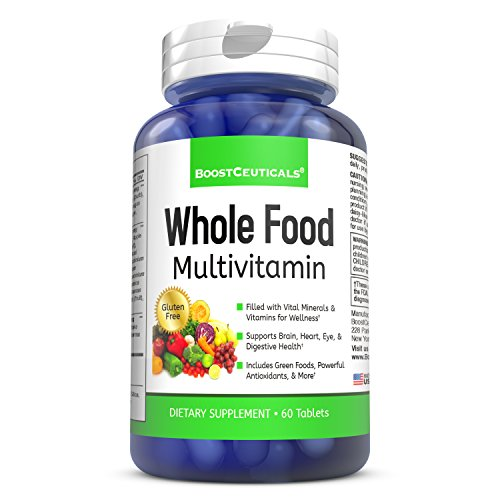 Whole Food Multivitamin for Women and Men with Essential Enzymes Probiotics Natural Minerals and More 60 Capsules Supplement by BoostCeuticals
