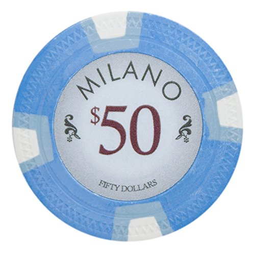 - Claysmith Gaming Milano Poker Chip Lightweight 10-Gram Casino Clay – Pack of 50 ($50 Light Blue)