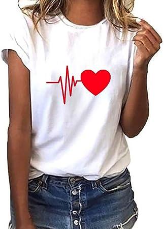 Women Short Sleeve T-Shirt Summer Love Heart Print Fashion Casual ONeck Tee Tops