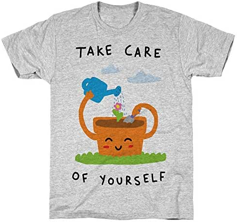 LookHUMAN Take Care of Yourself Athletic Gray Men's Cotton Tee
