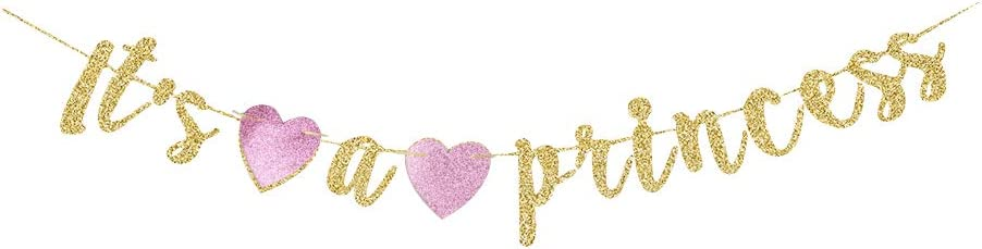 It's a Princess Banner, Gold Gliter Paper Sign Decorations for Baby Shower Party, It's a Girl Party Decors, Gender Reveal Party Backdrops