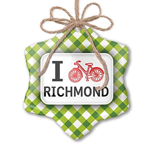 NEONBLOND Christmas Ornament I Love Cycling City Richmond Green Plaid