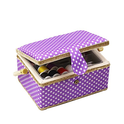 Sewing Basket Kit, Sewing Box Organizer - Includes Sewing Accessories/Removable Tray/Handle/ Built-in Pin Cushion & Interior Pocket - Purple Polka Dot - Medium 9.5 x 6.9 x 5.1 inches - by D&D Design by D&D