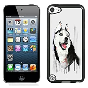 NEW Unique Custom Designed iPod Touch 5 Phone Case With Husky Dog Watercolor Illustration_Black Phone Case