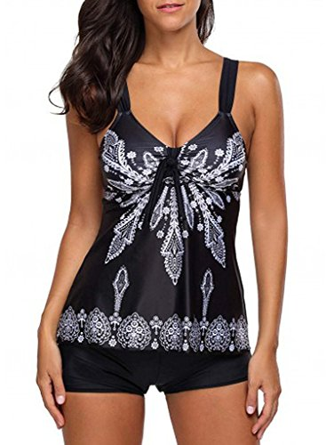 Womens Floral Printed Tank Top Ties Tankini Swimsuits For Women with Swim Shorts Black S(US:4-6)
