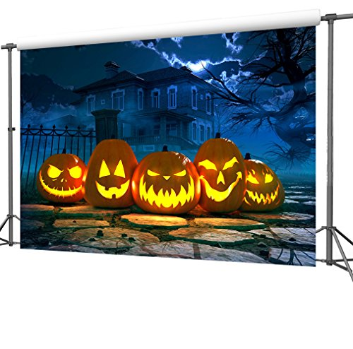 Duluda Halloween Night Pumpkin Horror 9x6FT Seamless Vinyl Photography Backdrop Customized Photo Background Studio Prop HW12B (Halloween Pumpkins Wallpaper)