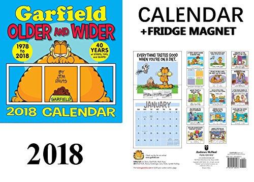 GARFIELD CALENDAR 2018 + CELEBRITY FRIDGE MAGNET