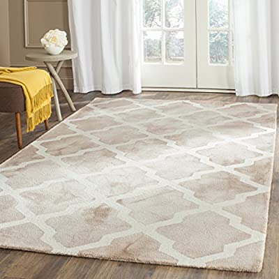 Safavieh Dip Dye Collection DDY540C Handmade Geometric Moroccan Watercolor Grey and Ivory Wool Area Rug