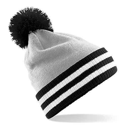 Beechfield Varsity Mens Winter Beanie Hat (One Size) (Light Gray/Black/White)