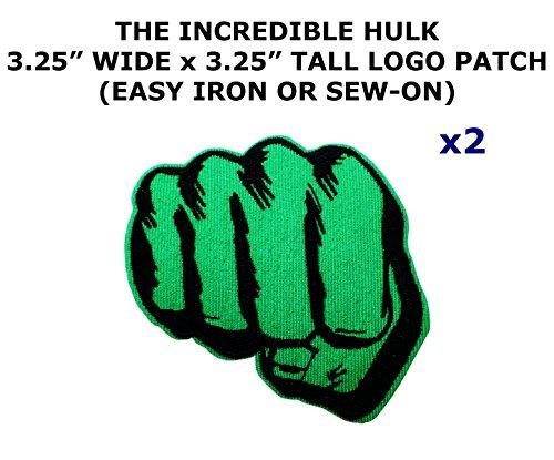 Incredible Hulk Diy Costume (2 PCS Marvel Comics The Incredible Hulk Theme DIY Iron / Sew-on Decorative Applique Patches)